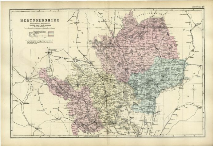 1891 Antique Map HERTFORDSHIRE Houses FARMS Parks RAILWAYS Stations VERY DETAILED